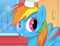 Rainbow Dash Cooking M&M Cake